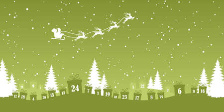 lying christmas presents colored green with numbers 1 to 24 showing advent calendar for xmas and winter time concepts, nature background with fir trees and flying santa claus with reindeers Иллюстрация