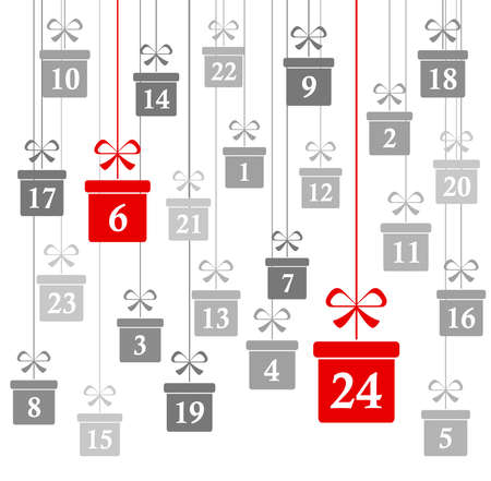 hanging christmas gifts colored gray with numbers 1 to 24 showing advent calendar for xmas and winter time concepts panorama style Иллюстрация