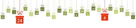hanging christmas gifts colored green with numbers 1 to 24 showing advent calendar for xmas and winter time concepts panorama style