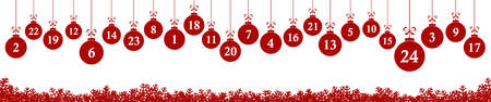 hanging christmas gifts colored red with numbers 1 to 24 showing advent calendar for xmas and winter time concepts panorama style