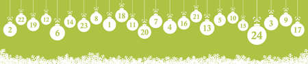 hanging christmas gifts colored white with numbers 1 to 24 showing advent calendar for xmas and winter time concepts, panorama background colored green Иллюстрация