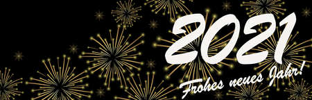 vector file with golden colored fireworks panorama concept for New Year 2021 greetings with black background (text in german)