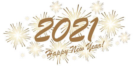 golden colored fireworks concept for New Year 2021 greetings with white background