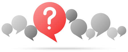 gray speech bubbles with red question mark symbolizing questioning or a problem
