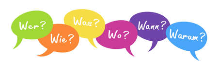 vector illustration of colored speech bubbles with text 'who how where what when why' in german, ask and answer concept