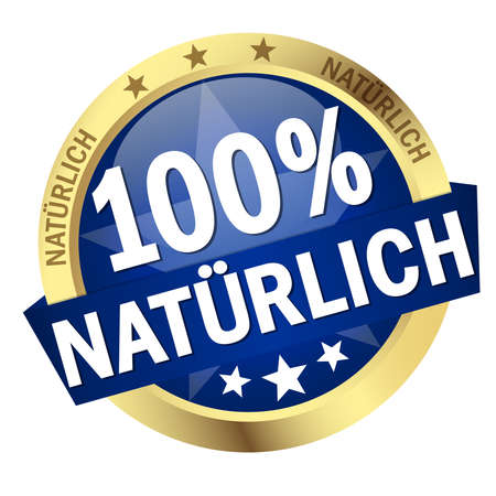 vector with round colored button with banner and text 100% Natur (in German)