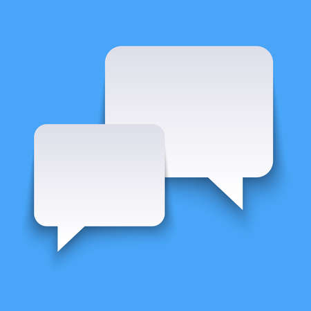 vector illustration of white speech bubbles with shadows on blue colored background and free space for text