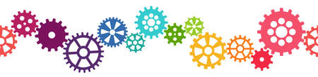 seamless vector illustration of colored gears symbolizing cooperation or teamwork process