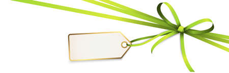 EPS 10 vector illustration of green colored ribbon bow and gift band with pendant isolated on white background Çizim