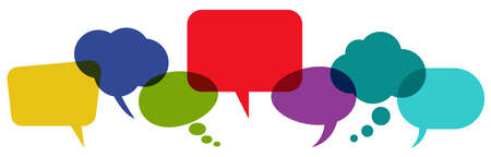 illustration of colored speech bubbles in a row with space for text on white background