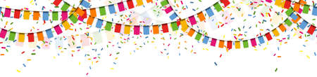 EPS 10 vector illustration of seamless colored happy garlands on white background for carnival party or sylvester template usage