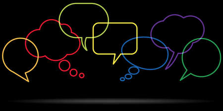 illustration of outlined colored speech bubbles in a row with space for text symbolizing communication process with white background Çizim