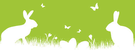 vector panorama illustration for easter time, happy background with green silhouette of a rabbits with eggs, grass, flowers. Spring time backdrop for celebration concepts