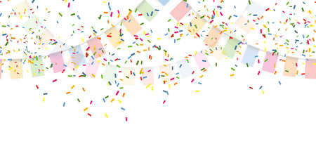 EPS 10 vector illustration of seamless colored happy garlands and confetti on white background for carnival party or birthday template usage