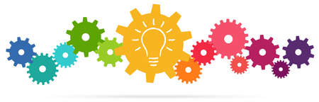 eps vector illustration of colored gears symbolizing cooperation or teamwork process with glowing light bulb for great solution idea