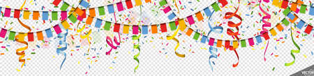 EPS 10 vector illustration of colored happy garlands, streamers and confetti on transparent background (transparency in vector file) for carnival party or birthday template usage