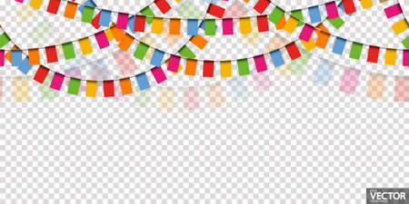 EPS 10 vector illustration of seamless colored happy garlands on transparent background (in vector file) for carnival party or sylvester template usage