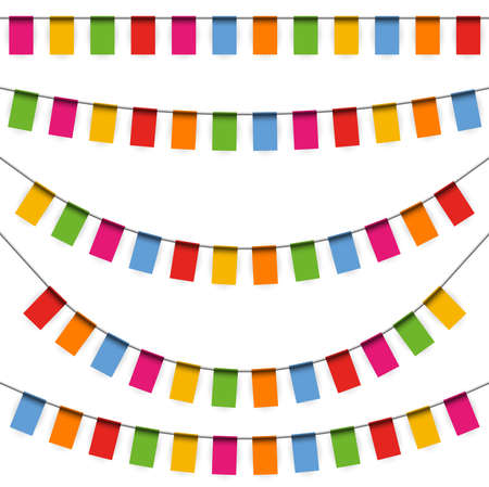 EPS 10 vector illustration of colored happy garlands on white background for carnival party or sylvester template usage Çizim