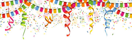EPS 10 vector illustration of seamless colored happy garlands, confetti and streamers on white background for carnival party or birthday template usage Çizim