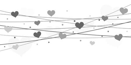 EPS 10 vector file background with hearts on strings for valentine's day time colored silver for mother's day and love concepts