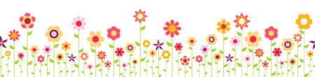 Seamless background with happy flowers on bottom side for spring time in different colors for easter and fresh concepts