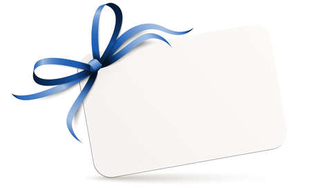 Illustration of little white paper with shadow and free space for greetings and beautiful styled ribbon bow colored blue