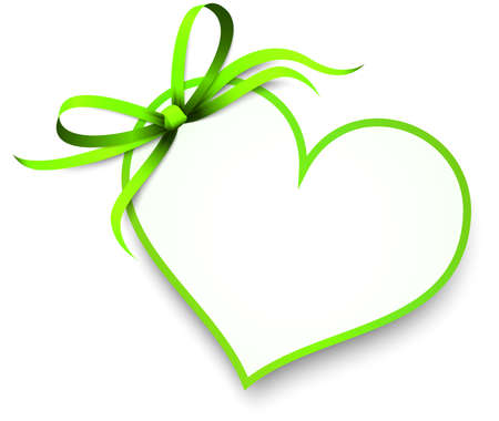 EPS 10 vector illustration of green colored ribbon bow and gift band with shape of a heart pendant for valentine love greetings isolated on white background Çizim