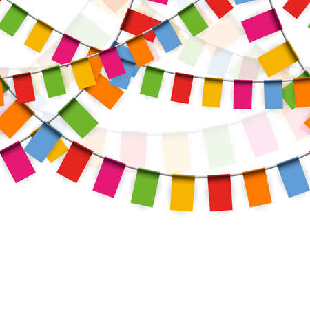 Illustration of seamless colored happy garlands on white background for carnival party or sylvester template usage