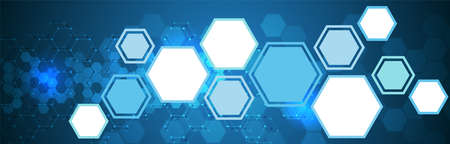 Illustration of blue colored futuristic hexagonal cooperation or teamwork process for great solution ideas Çizim