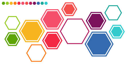 eps vector illustration of colored futuristic hexagonal cooperation or teamwork process for great solution ideas Çizim