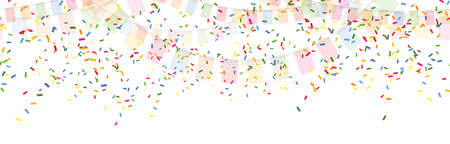 Vector illustration of seamless colored happy garlands and confetti on white background for carnival party or birthday template usage Çizim