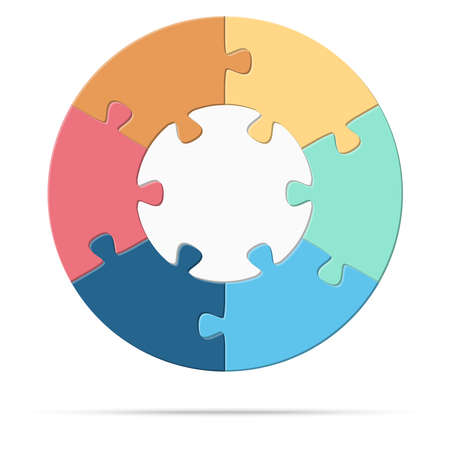 vector illustration of round colored puzzle symbolizing cooperation or teamwork process with white base, six options idea Çizim