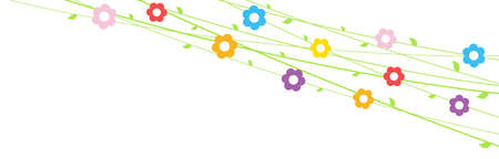 EPS 10 vector file background with flowers on strings for spring time in different colors for easter and fresh concepts