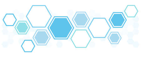 vector illustration of blue colored futuristic hexagonal cooperation or teamwork process for great solution ideas Çizim