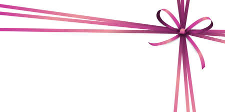 Illustration of pink colored ribbon bow and gift band isolated on white background