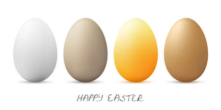Illustration with easter eggs in different colors for springtime advertising or traditional season concepts