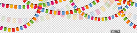 Illustration of seamless colored happy garlands on transparent background