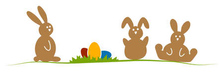 Illustration with easter rabbits in different brown colors for springtime advertising or traditional season concepts