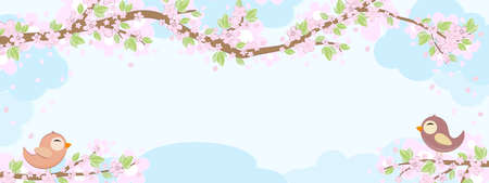 File with red and blue colored birds in love sitting on branches with blossoms and green leaves in spring time, background with sky and light clouds Çizim