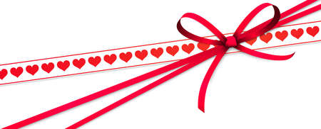 EPS 10 vector illustration of red colored ribbon bow and gift band with hearts isolated on white background for happy valentine or love concepts Çizim