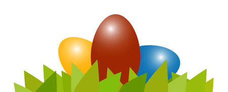 Illustration with easter eggs lying in green grass for springtime advertising or traditional season concepts