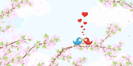 File with red and blue colored birds in love, flying and sitting on branches with blossoms and green leaves in spring time, background with sky and light clouds