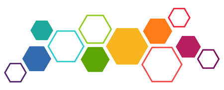 Illustration of colored futuristic hexagonal cooperation or teamwork process for great solution ideas