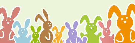 Illustration with easter rabbits in different colors for springtime advertising or traditional season concepts