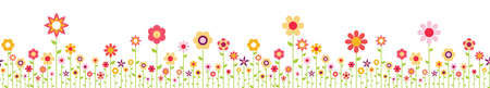 File seamless background with happy flowers on bottom side for spring time in different colors for easter and fresh concepts