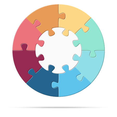 eps vector illustration of round colored puzzle symbolizing cooperation or teamwork process with white base, eight options idea