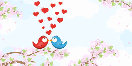 File with red and blue colored kissing birds in love sitting on branches with blossoms and green leaves in spring time, background with sky and light clouds Çizim
