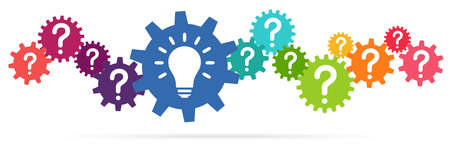 Illustration of colored gears symbolizing cooperation or teamwork process with question marks and glowing light bulb for great solution idea