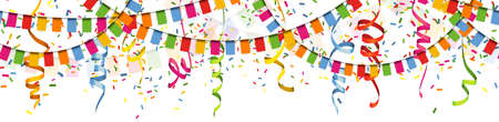 Illustration of seamless colored happy garlands, confetti and streamers on white background for carnival party or birthday template usage Çizim