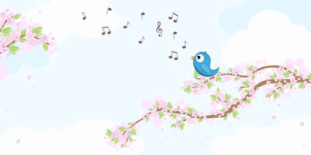 eps vector file with blue colored bird in love, sitting on branches with blossoms and green leaves in spring time, singing with musical notes, background with sky and light clouds Çizim